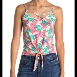 Poof! Feather and Leaf Printed Tie Front Tank Top
